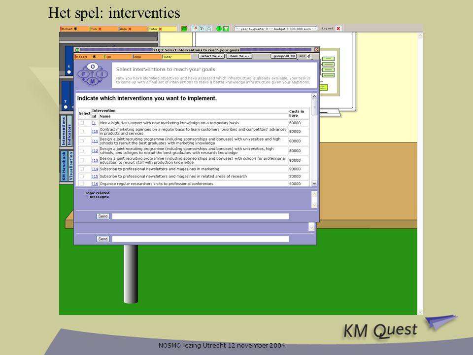 NOSMO lezing Utrecht 12 november 2004 Het spel: interventies