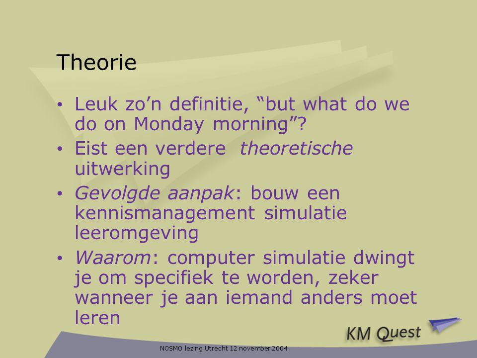 NOSMO lezing Utrecht 12 november 2004 Theorie • Wat moet je maken: • Een operationeel kennismanagement model • Een procesmodel van een bedrijf • Kennismanagement interventies/acties • Gebeurtenissen • Plus: de relaties daartussen • Plusplus: leerdoelen, hulpmiddelen