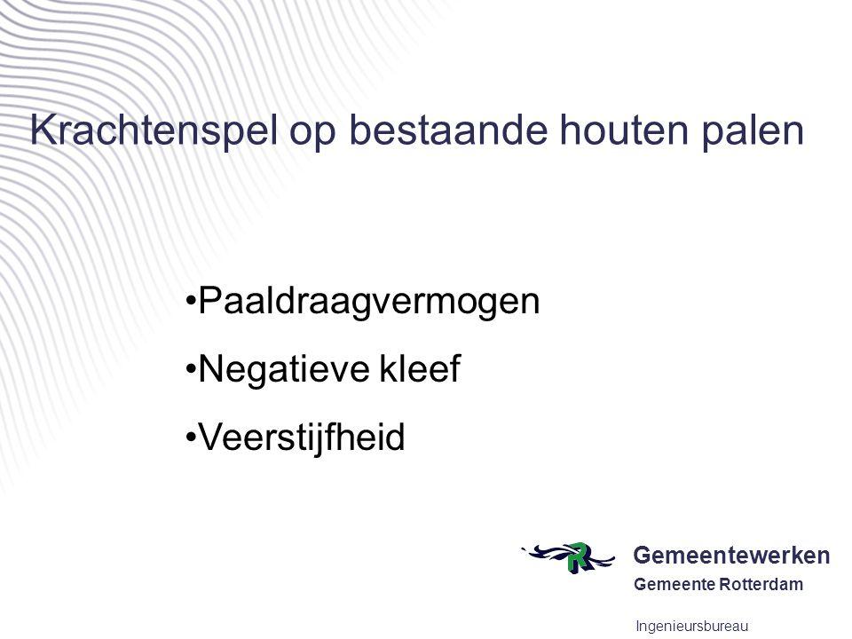 Gemeentewerken Gemeente Rotterdam Ingenieursbureau Krachtenspel op bestaande houten palen •Paaldraagvermogen •Negatieve kleef •Veerstijfheid