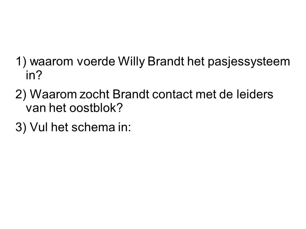 1) waarom voerde Willy Brandt het pasjessysteem in? 2) Waarom zocht Brandt contact met de leiders van het oostblok? 3) Vul het schema in: