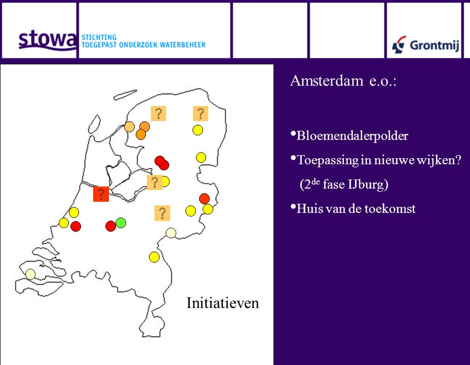 Initiatieven Amsterdam e.o.: • Bloemendalerpolder • Toepassing in nieuwe wijken? (2 de fase IJburg) • Huis van de toekomst