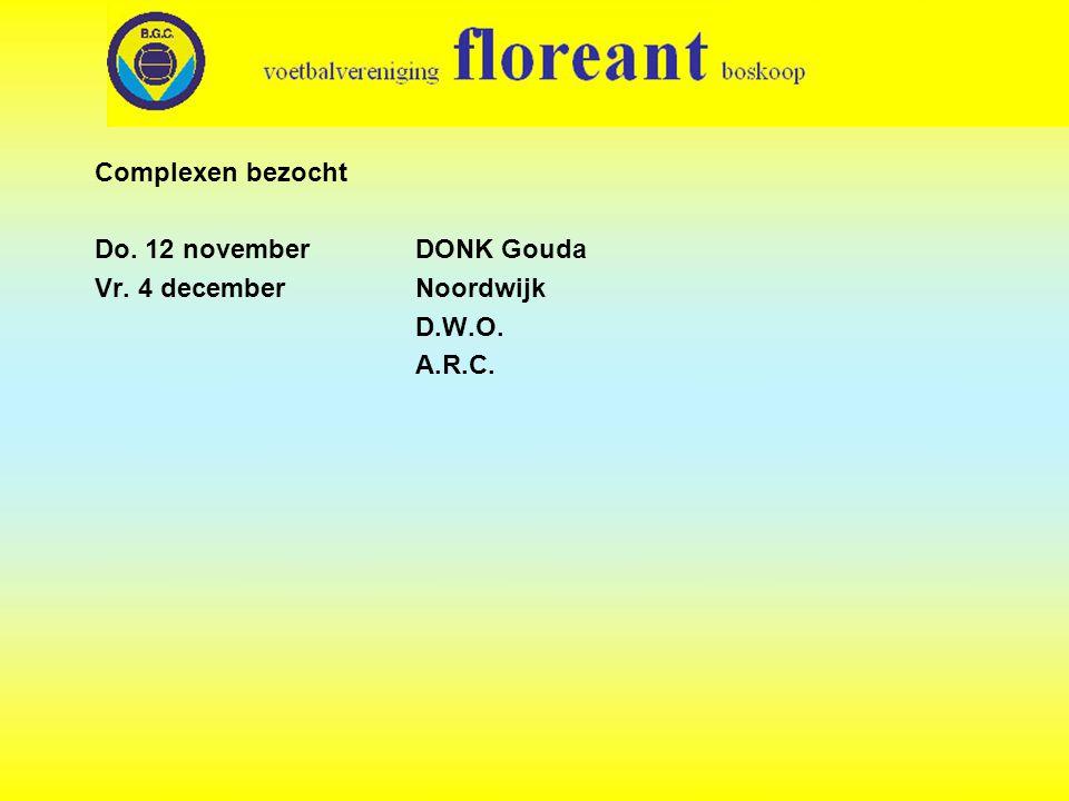 Complexen bezocht Do. 12 november DONK Gouda Vr. 4 decemberNoordwijk D.W.O. A.R.C.