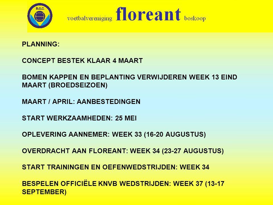 PLANNING: CONCEPT BESTEK KLAAR 4 MAART BOMEN KAPPEN EN BEPLANTING VERWIJDEREN WEEK 13 EIND MAART (BROEDSEIZOEN) MAART / APRIL: AANBESTEDINGEN START WERKZAAMHEDEN: 25 MEI OPLEVERING AANNEMER: WEEK 33 (16-20 AUGUSTUS) OVERDRACHT AAN FLOREANT: WEEK 34 (23-27 AUGUSTUS) START TRAININGEN EN OEFENWEDSTRIJDEN: WEEK 34 BESPELEN OFFICIËLE KNVB WEDSTRIJDEN: WEEK 37 (13-17 SEPTEMBER)