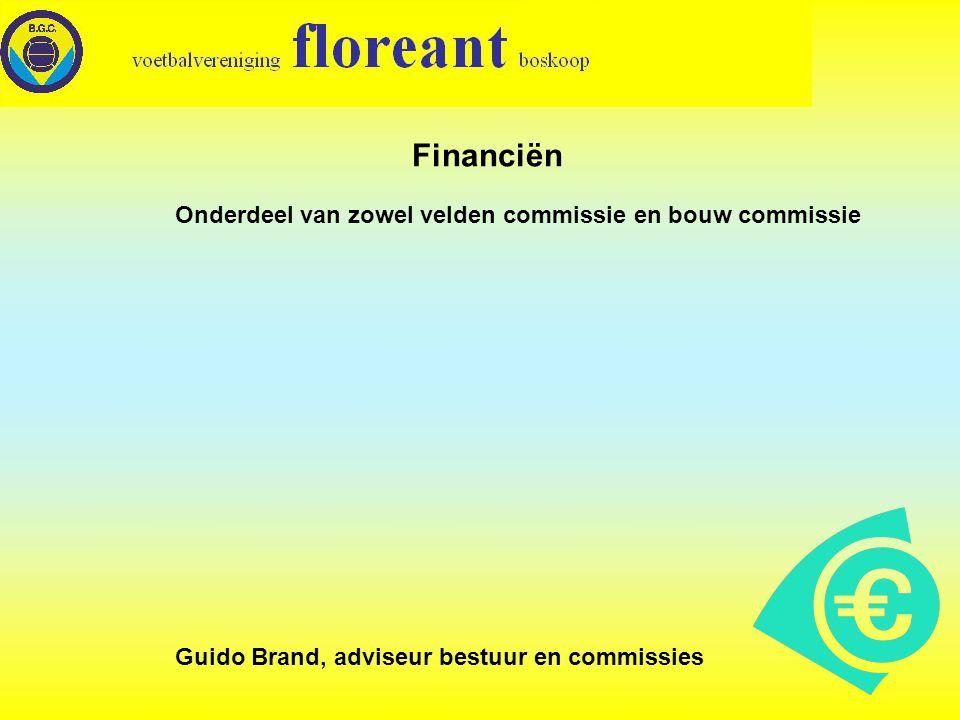 Financiën Onderdeel van zowel velden commissie en bouw commissie Guido Brand, adviseur bestuur en commissies