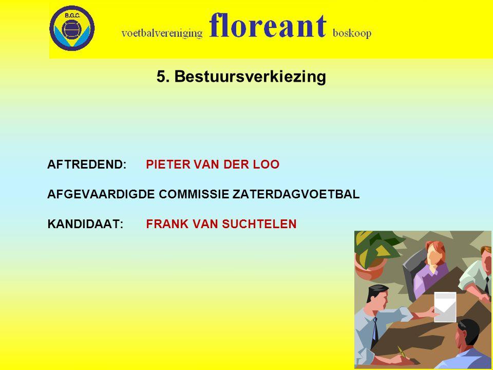 AFTREDEND: PIETER VAN DER LOO AFGEVAARDIGDE COMMISSIE ZATERDAGVOETBAL KANDIDAAT: FRANK VAN SUCHTELEN 5.