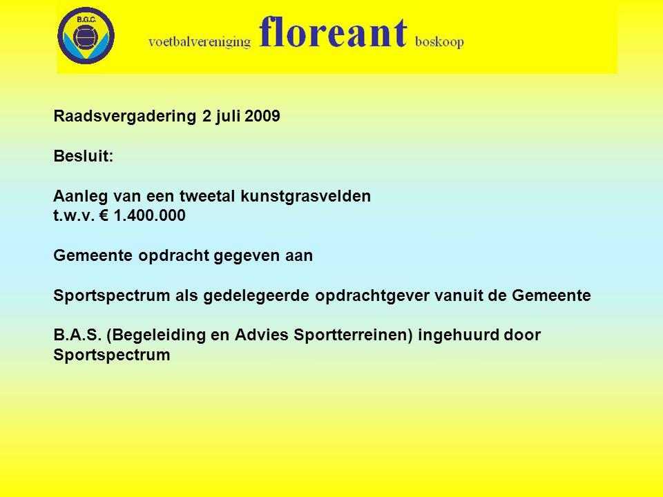 Raadsvergadering 2 juli 2009 Besluit: Aanleg van een tweetal kunstgrasvelden t.w.v. € 1.400.000 Gemeente opdracht gegeven aan Sportspectrum als gedele