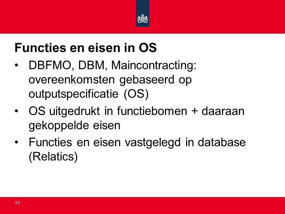 13 Functies en eisen in OS •DBFMO, DBM, Maincontracting: overeenkomsten gebaseerd op outputspecificatie (OS) •OS uitgedrukt in functiebomen + daaraan