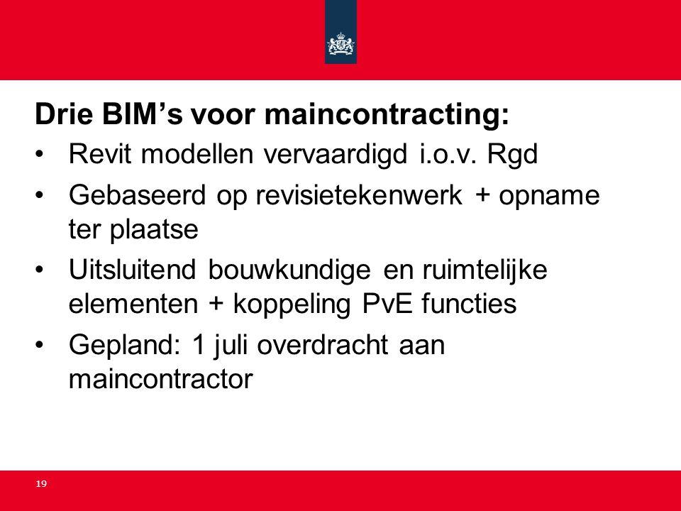 19 Drie BIM's voor maincontracting: •Revit modellen vervaardigd i.o.v. Rgd •Gebaseerd op revisietekenwerk + opname ter plaatse •Uitsluitend bouwkundig