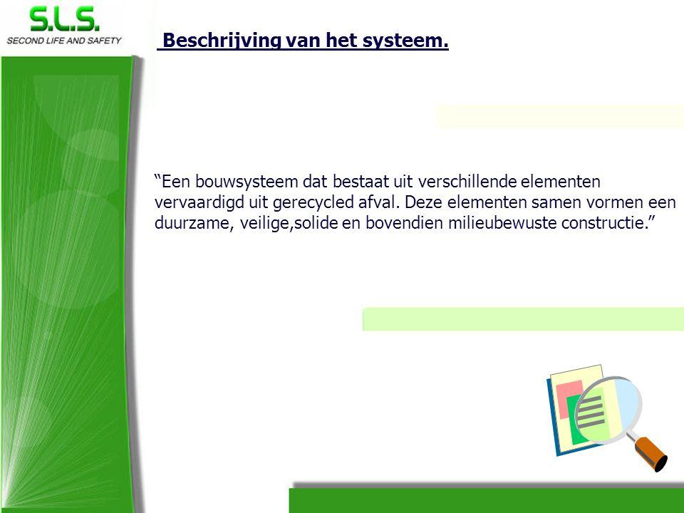 """Beschrijving van het systeem. """"Een bouwsysteem dat bestaat uit verschillende elementen vervaardigd uit gerecycled afval. Deze elementen samen vormen e"""