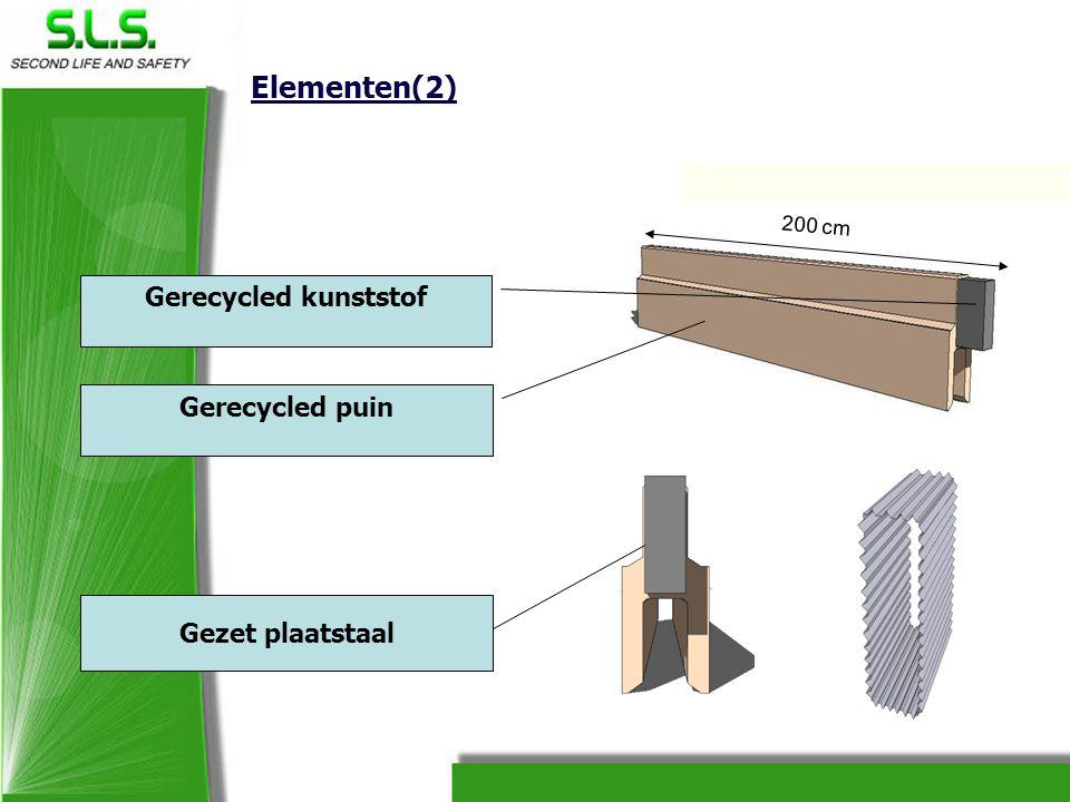 Elementen(2) 200 cm Gerecycled kunststof Gerecycled puin Gezet plaatstaal