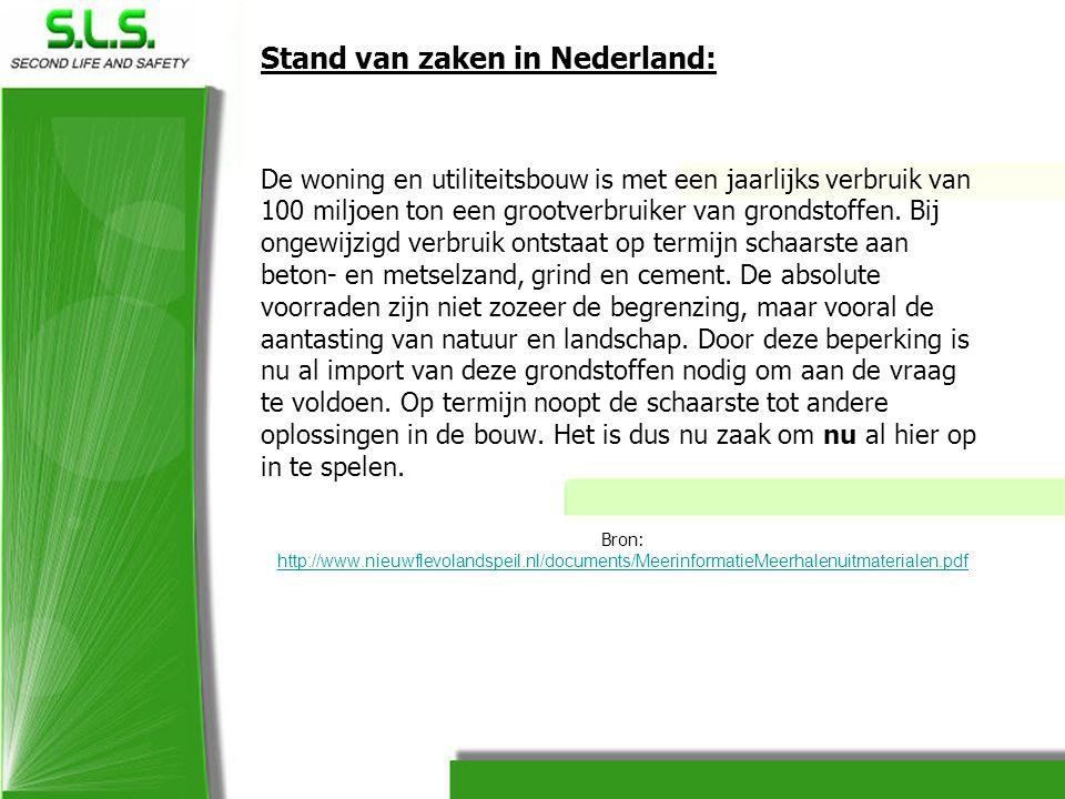 Stand van zaken in Nederland: De woning en utiliteitsbouw is met een jaarlijks verbruik van 100 miljoen ton een grootverbruiker van grondstoffen. Bij