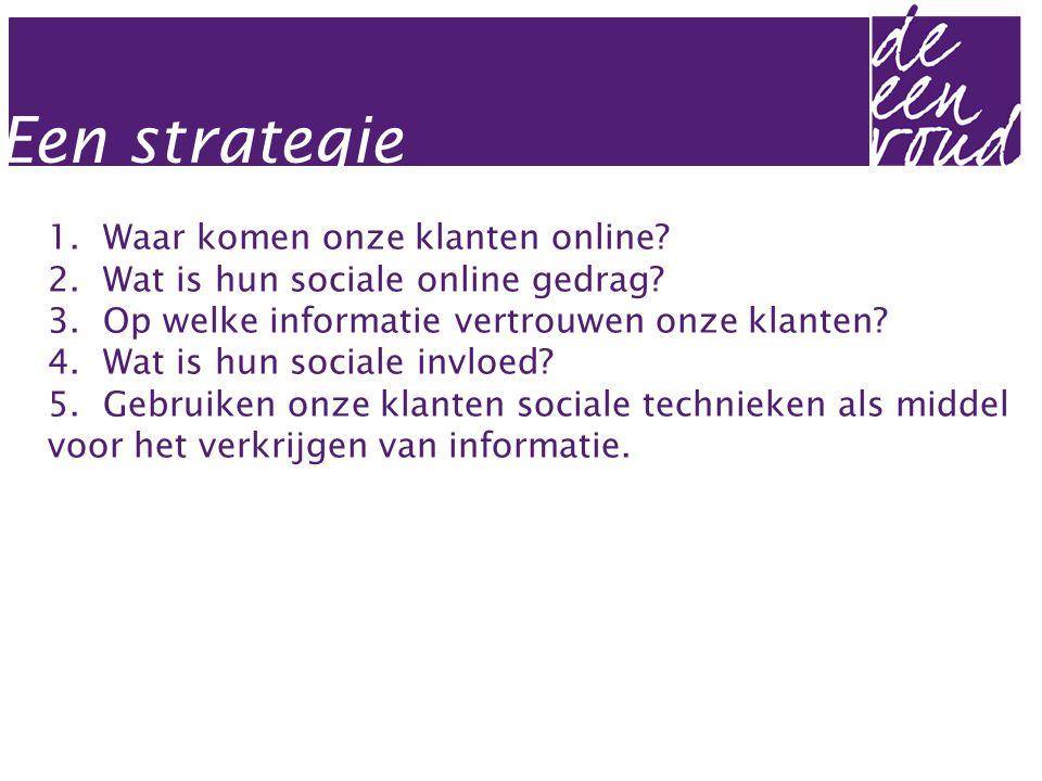 1. Waar komen onze klanten online? 2. Wat is hun sociale online gedrag? 3. Op welke informatie vertrouwen onze klanten? 4. Wat is hun sociale invloed?