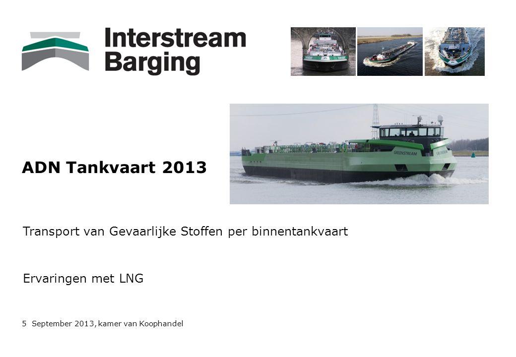 ADN Tankvaart 2013 Transport van Gevaarlijke Stoffen per binnentankvaart Ervaringen met LNG 5 September 2013, kamer van Koophandel