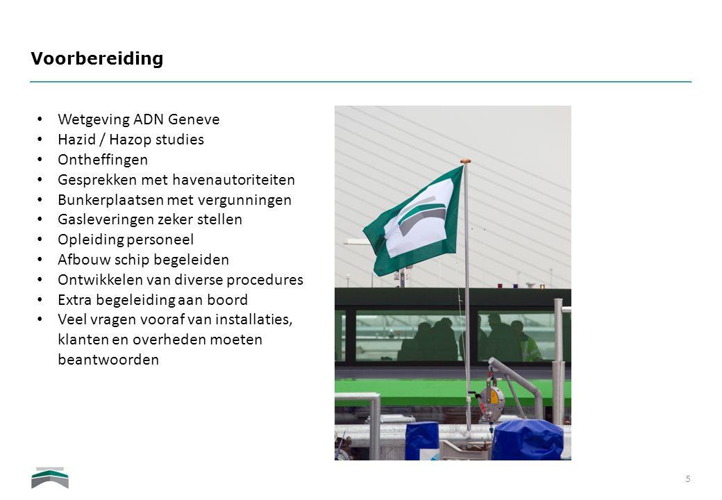 Voorbereiding 5 • Wetgeving ADN Geneve • Hazid / Hazop studies • Ontheffingen • Gesprekken met havenautoriteiten • Bunkerplaatsen met vergunningen • G