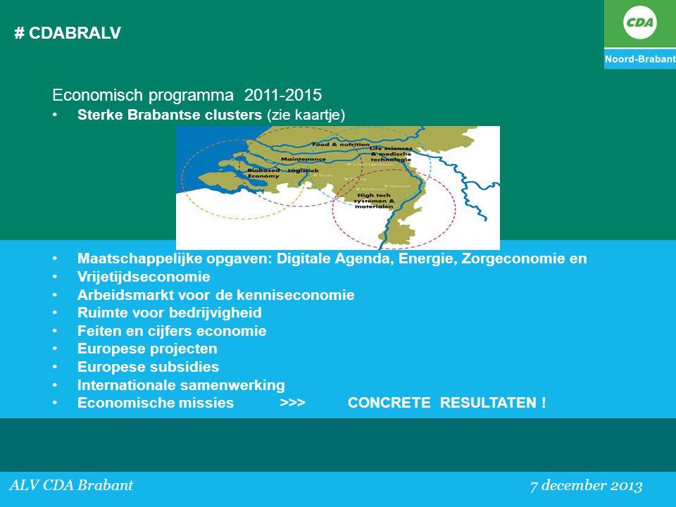 # CDABRALV ALV CDA Brabant 7 december 2013 Economisch programma 2011-2015 •Sterke Brabantse clusters (zie kaartje) •Maatschappelijke opgaven: Digitale