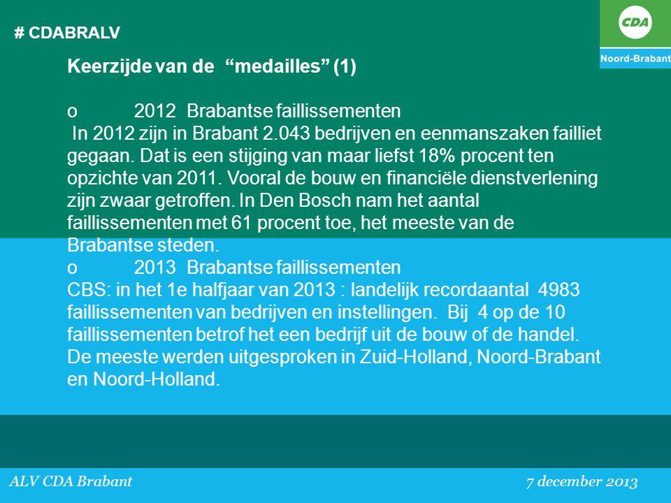 """# CDABRALV ALV CDA Brabant 7 december 2013 Keerzijde van de """"medailles"""" (1) o2012 Brabantse faillissementen In 2012 zijn in Brabant 2.043 bedrijven en"""