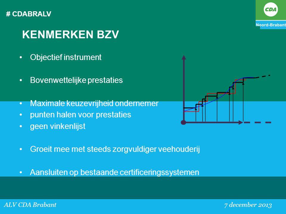 # CDABRALV ALV CDA Brabant 7 december 2013 KENMERKEN BZV •Objectief instrument •Bovenwettelijke prestaties •Maximale keuzevrijheid ondernemer •punten