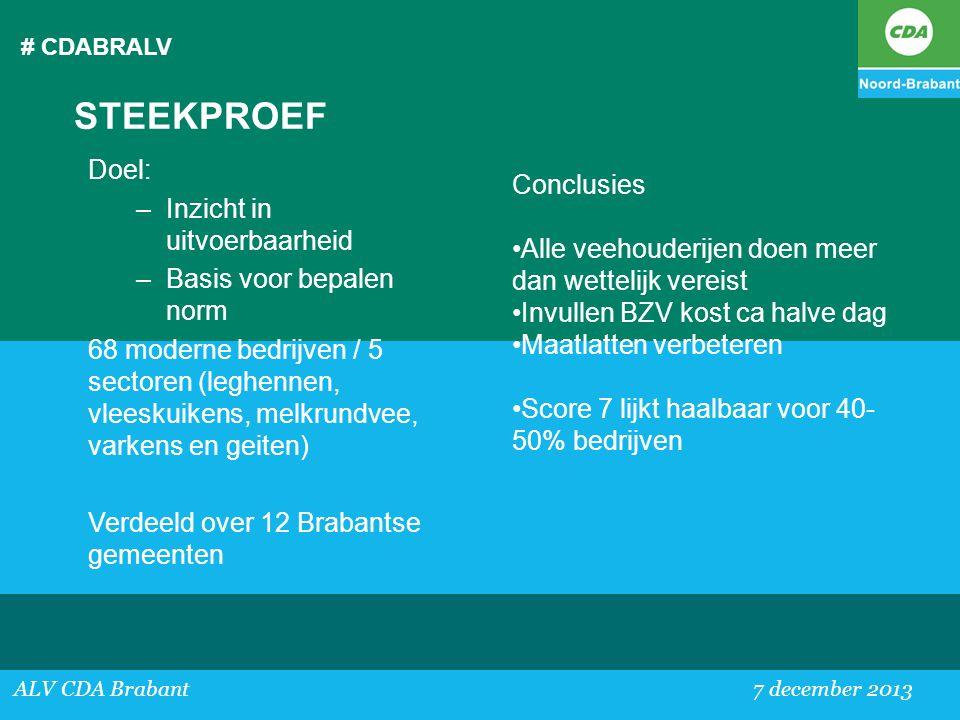 # CDABRALV ALV CDA Brabant 7 december 2013 STEEKPROEF Doel: –Inzicht in uitvoerbaarheid –Basis voor bepalen norm 68 moderne bedrijven / 5 sectoren (le