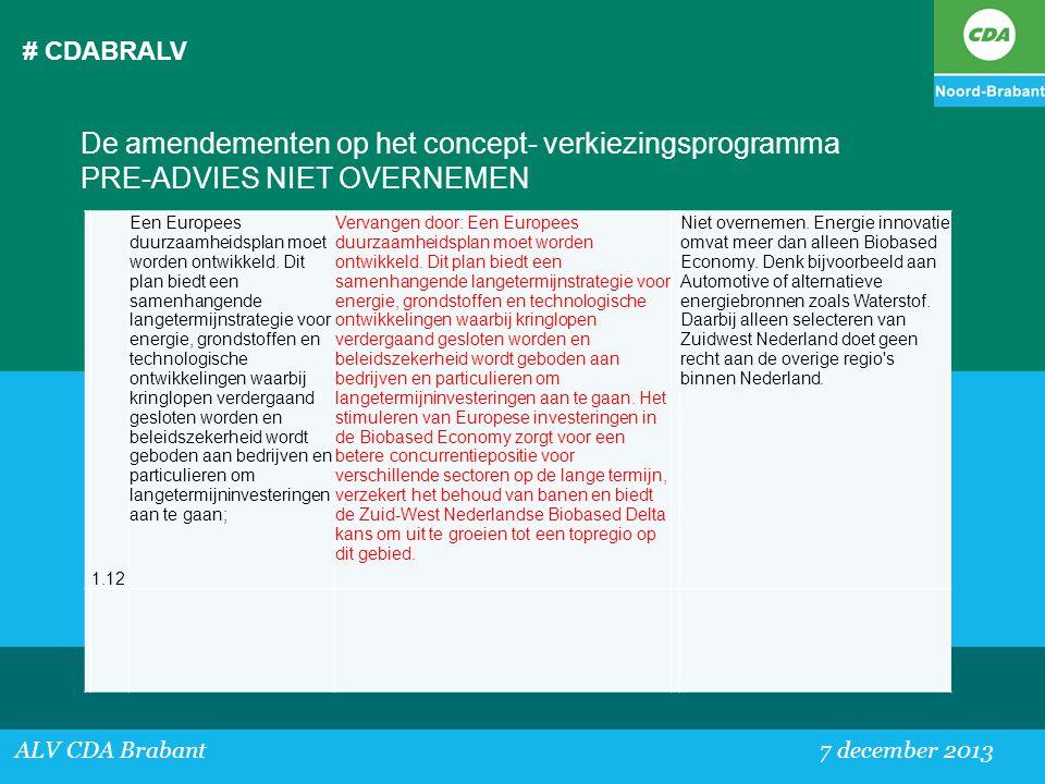 # CDABRALV ALV CDA Brabant 7 december 2013 De amendementen op het concept- verkiezingsprogramma PRE-ADVIES NIET OVERNEMEN 1.12 Een Europees duurzaamhe