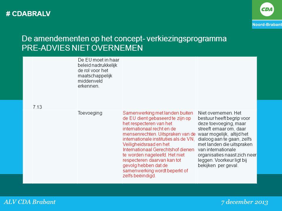 # CDABRALV ALV CDA Brabant 7 december 2013 De amendementen op het concept- verkiezingsprogramma PRE-ADVIES NIET OVERNEMEN 7.13 De EU moet in haar bele