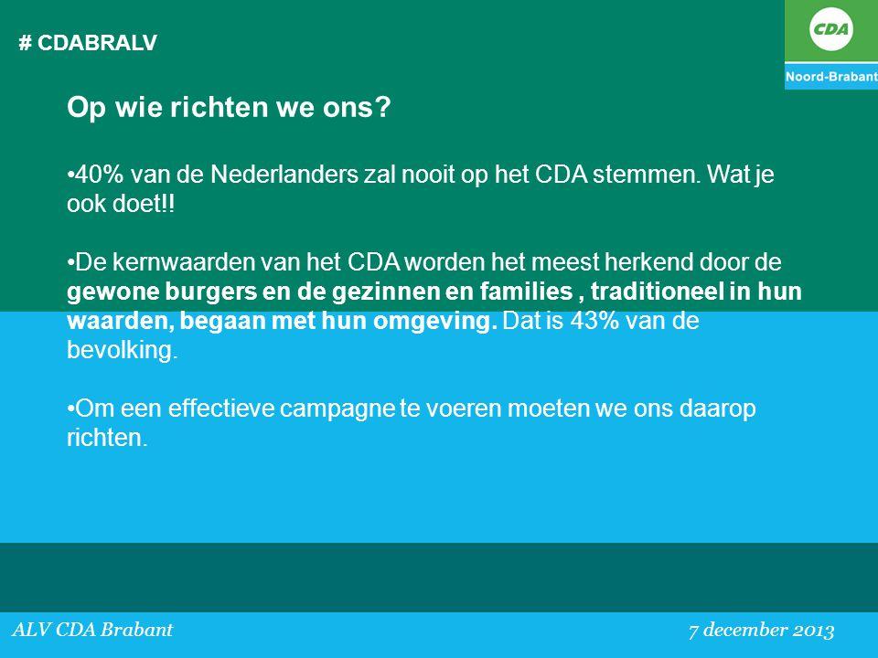 # CDABRALV ALV CDA Brabant 7 december 2013 Op wie richten we ons? •40% van de Nederlanders zal nooit op het CDA stemmen. Wat je ook doet!! •De kernwaa
