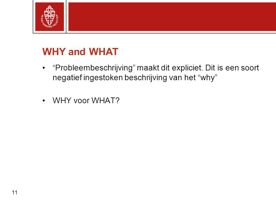 """11 WHY and WHAT •""""Probleembeschrijving"""" maakt dit expliciet. Dit is een soort negatief ingestoken beschrijving van het """"why"""" •WHY voor WHAT?"""