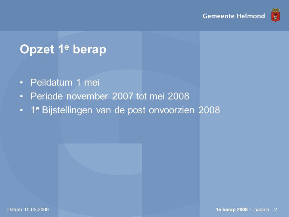 Datum: 15-05-2008 1e berap 2008 I pagina23 Mutaties onvoorzien lasten Incidentele onttrekkingen aan onvoorzien: • 6: Recreatiegebieden€ 18.000 •12: Dierenasiel€ 40.000 Totaal€ 58.000