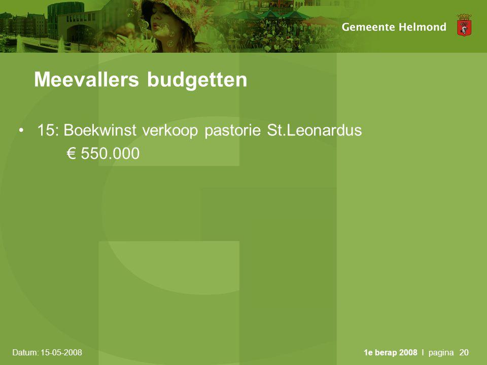 Datum: 15-05-2008 1e berap 2008 I pagina20 Meevallers budgetten •15: Boekwinst verkoop pastorie St.Leonardus € 550.000