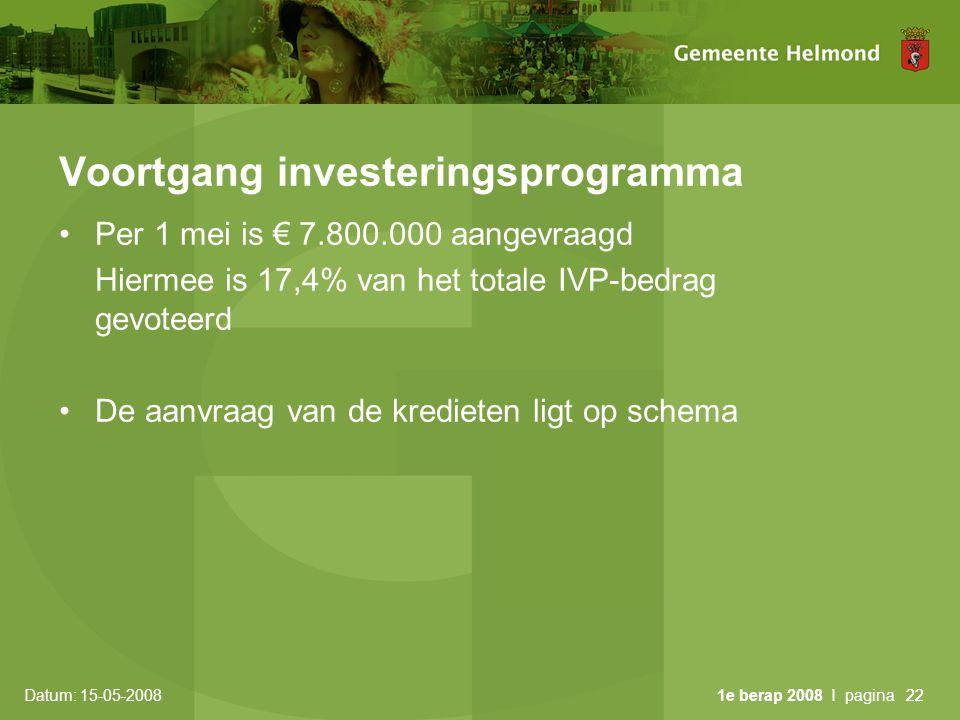 Datum: 15-05-2008 1e berap 2008 I pagina22 Voortgang investeringsprogramma •Per 1 mei is € 7.800.000 aangevraagd Hiermee is 17,4% van het totale IVP-bedrag gevoteerd •De aanvraag van de kredieten ligt op schema