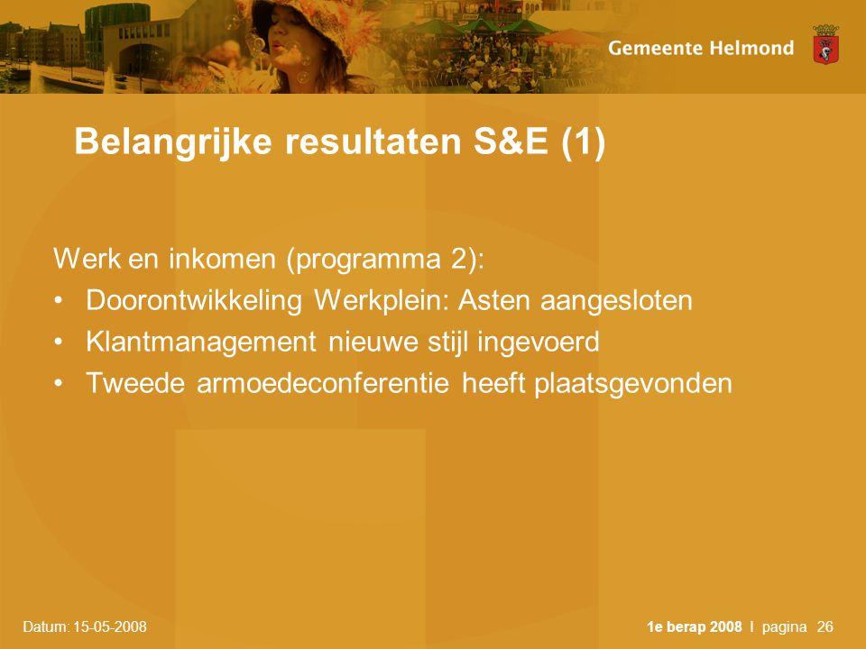 Datum: 15-05-2008 1e berap 2008 I pagina26 Belangrijke resultaten S&E (1) Werk en inkomen (programma 2): •Doorontwikkeling Werkplein: Asten aangesloten •Klantmanagement nieuwe stijl ingevoerd •Tweede armoedeconferentie heeft plaatsgevonden