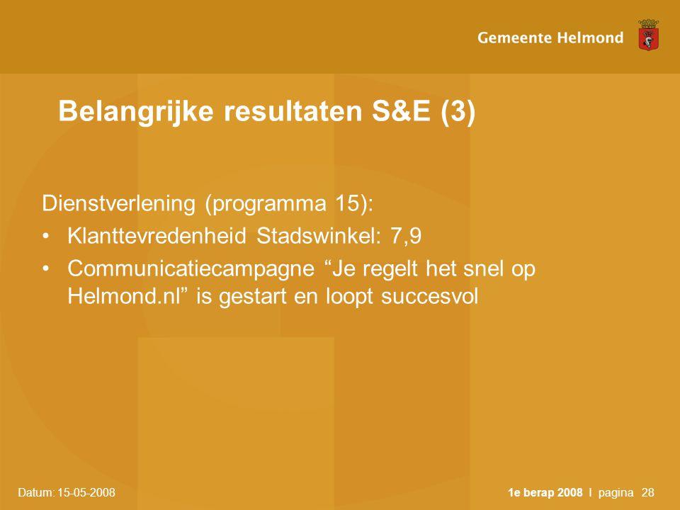 Datum: 15-05-2008 1e berap 2008 I pagina28 Belangrijke resultaten S&E (3) Dienstverlening (programma 15): •Klanttevredenheid Stadswinkel: 7,9 •Communicatiecampagne Je regelt het snel op Helmond.nl is gestart en loopt succesvol