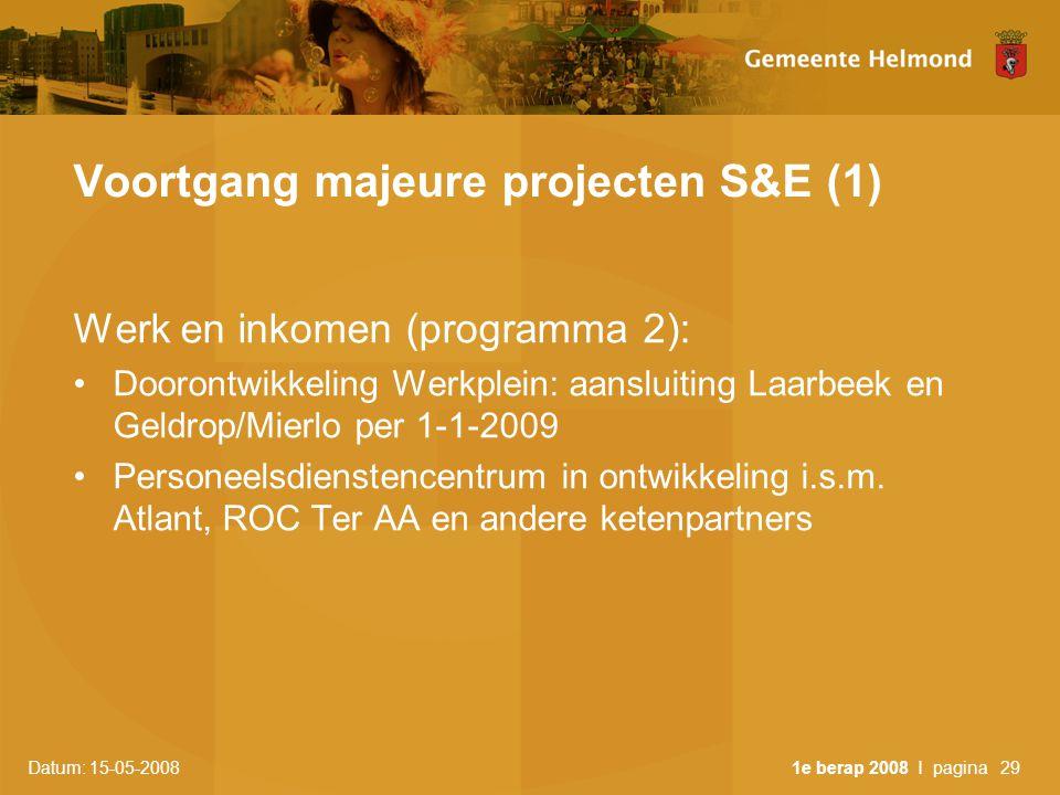 Datum: 15-05-2008 1e berap 2008 I pagina29 Voortgang majeure projecten S&E (1) Werk en inkomen (programma 2): •Doorontwikkeling Werkplein: aansluiting Laarbeek en Geldrop/Mierlo per 1-1-2009 •Personeelsdienstencentrum in ontwikkeling i.s.m.