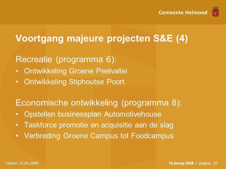 Datum: 15-05-2008 1e berap 2008 I pagina32 Voortgang majeure projecten S&E (4) Recreatie (programma 6): •Ontwikkeling Groene Peelvallei •Ontwikkeling