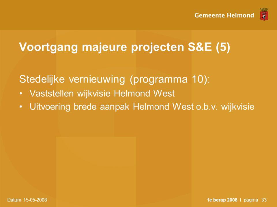 Datum: 15-05-2008 1e berap 2008 I pagina33 Voortgang majeure projecten S&E (5) Stedelijke vernieuwing (programma 10): •Vaststellen wijkvisie Helmond West •Uitvoering brede aanpak Helmond West o.b.v.