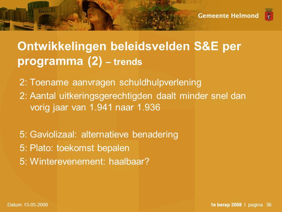 Datum: 15-05-2008 1e berap 2008 I pagina36 Ontwikkelingen beleidsvelden S&E per programma (2) – trends 2: Toename aanvragen schuldhulpverlening 2: Aantal uitkeringsgerechtigden daalt minder snel dan vorig jaar van 1.941 naar 1.936 5: Gaviolizaal: alternatieve benadering 5: Plato: toekomst bepalen 5: Winterevenement: haalbaar?