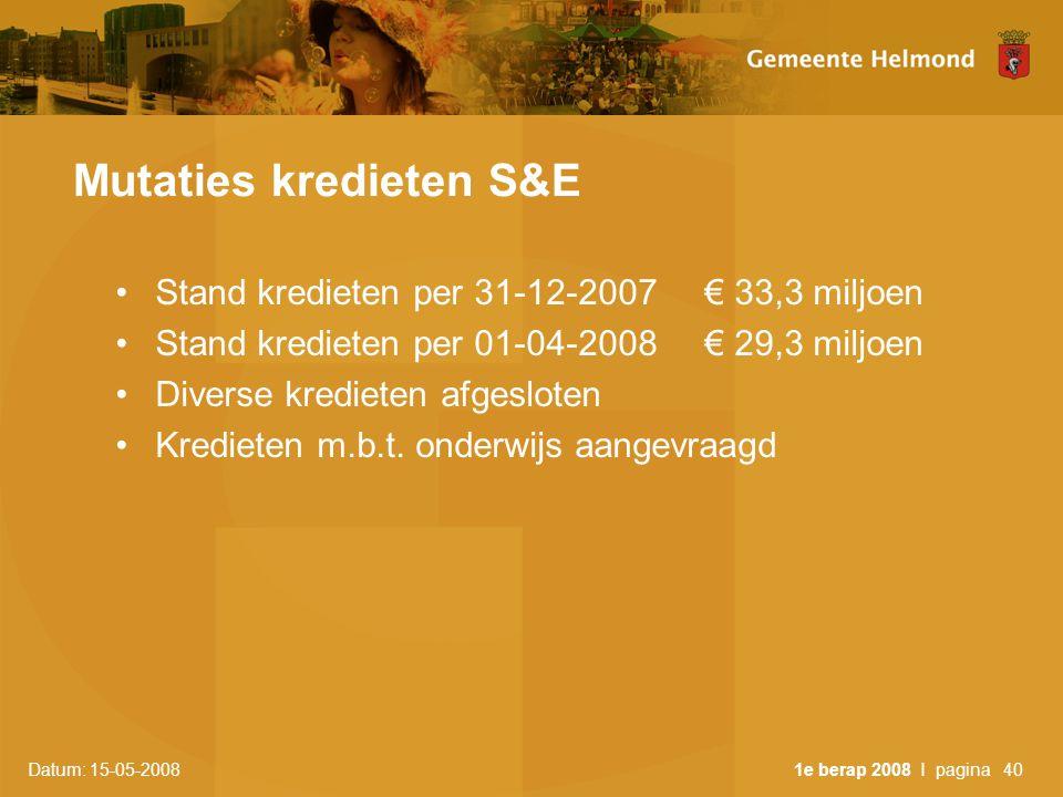 Datum: 15-05-2008 1e berap 2008 I pagina40 Mutaties kredieten S&E •Stand kredieten per 31-12-2007 € 33,3 miljoen •Stand kredieten per 01-04-2008 € 29,3 miljoen •Diverse kredieten afgesloten •Kredieten m.b.t.