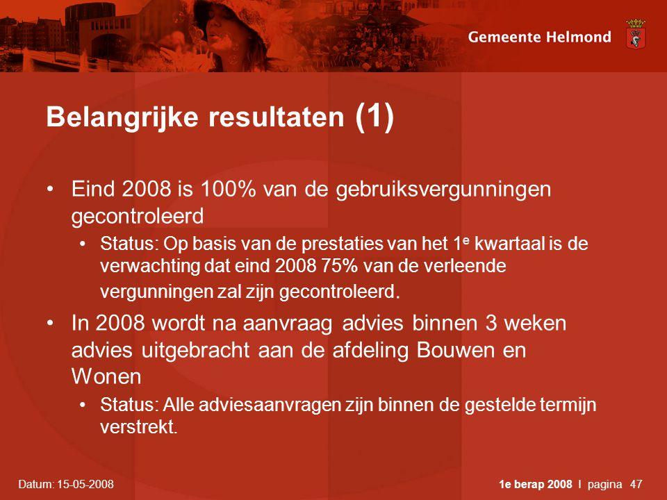 Datum: 15-05-2008 1e berap 2008 I pagina47 Belangrijke resultaten (1) •Eind 2008 is 100% van de gebruiksvergunningen gecontroleerd •Status: Op basis van de prestaties van het 1 e kwartaal is de verwachting dat eind 2008 75% van de verleende vergunningen zal zijn gecontroleerd.