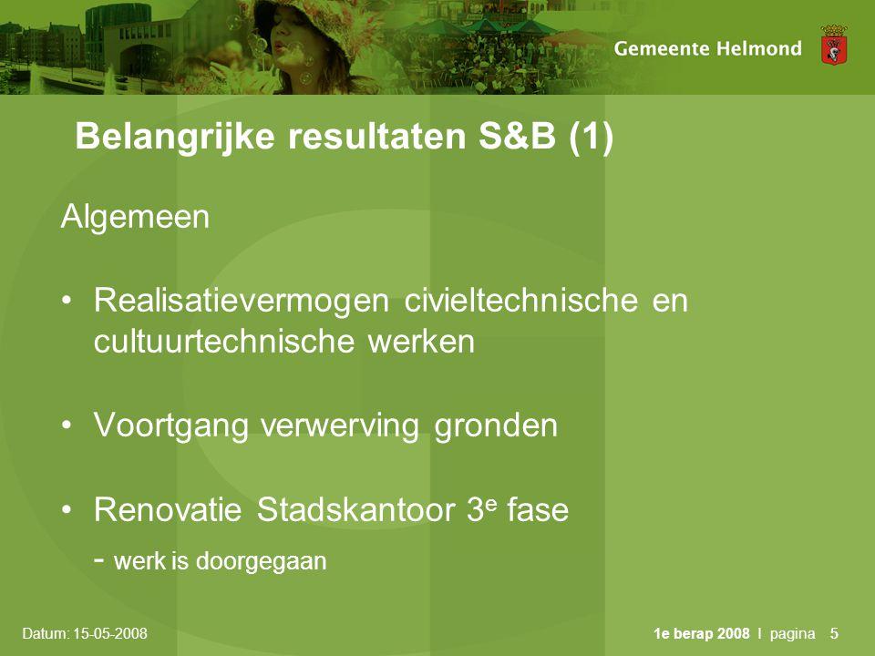 Datum: 15-05-2008 1e berap 2008 I pagina16 Voortgang majeure projecten (5) •14: Milieu •convenant G27 afgesloten duurzaam inkopen •rapport Milieuzonering ambtelijk gereed •beleidsnotitie Omgevingslawaai, raad juni •opschaling eenheid milieu •15: Geomakelaar •preferente leverancier applicatie gekozen •formatie ingevuld •15: Asbestsanering kasteel •doorgeschoven naar 2009 i.v.m.