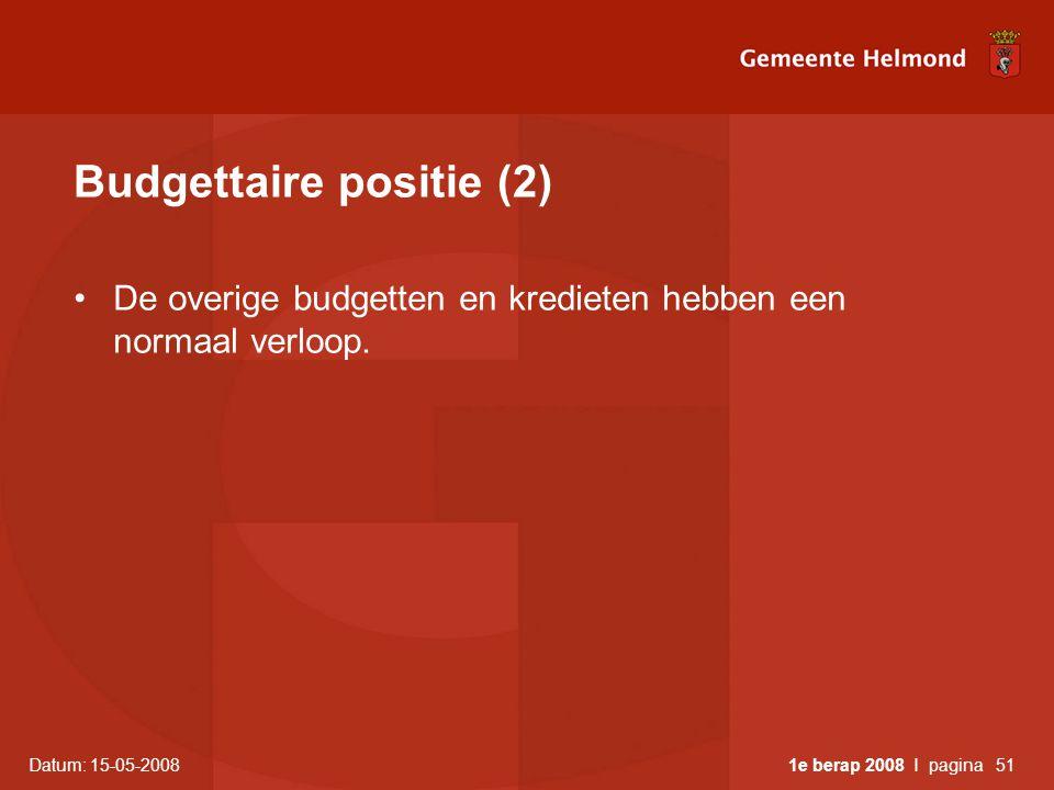 Datum: 15-05-2008 1e berap 2008 I pagina51 Budgettaire positie (2) •De overige budgetten en kredieten hebben een normaal verloop.