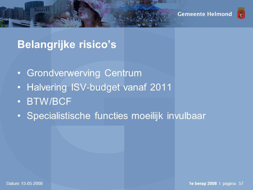 Datum: 15-05-2008 1e berap 2008 I pagina57 Belangrijke risico's •Grondverwerving Centrum •Halvering ISV-budget vanaf 2011 •BTW/BCF •Specialistische functies moeilijk invulbaar