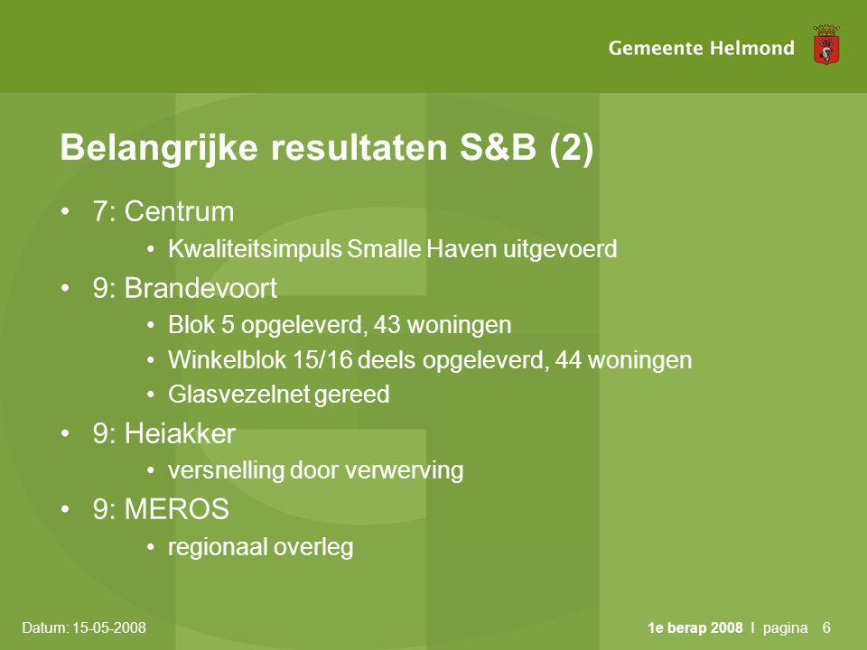 Datum: 15-05-2008 1e berap 2008 I pagina7 Belangrijke resultaten S&B (3) • 9: Aanpak prestatieafspraken woningbouwcorporaties • Heidagen februari •overeenstemming verdere aanpak •10: Helmond-West •Visie Goorloopzone ambtelijk gereed •10: Binnenstad •38 woningen opgeleverd •10: Buurtbeheer •6 buurtbeheerders actief