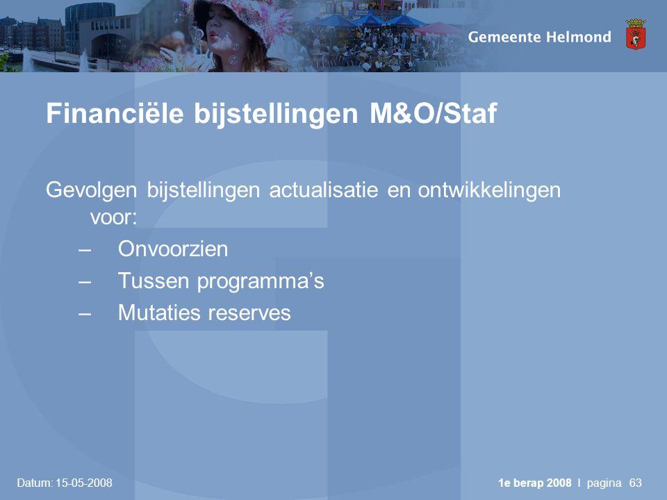 Datum: 15-05-2008 1e berap 2008 I pagina63 Financiële bijstellingen M&O/Staf Gevolgen bijstellingen actualisatie en ontwikkelingen voor: –Onvoorzien –Tussen programma's –Mutaties reserves