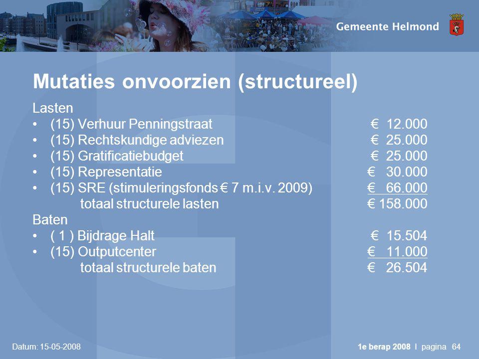 Datum: 15-05-2008 1e berap 2008 I pagina64 Mutaties onvoorzien (structureel) Lasten •(15) Verhuur Penningstraat € 12.000 •(15) Rechtskundige adviezen € 25.000 •(15) Gratificatiebudget € 25.000 •(15) Representatie € 30.000 •(15) SRE (stimuleringsfonds € 7 m.i.v.