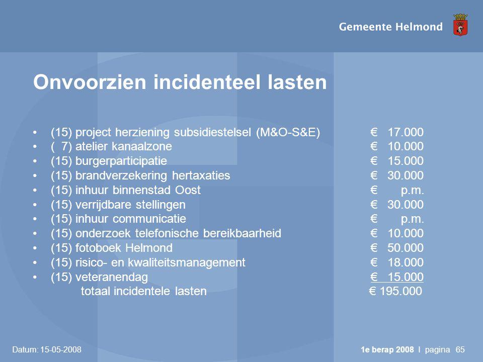 Datum: 15-05-2008 1e berap 2008 I pagina65 Onvoorzien incidenteel lasten •(15) project herziening subsidiestelsel (M&O-S&E)€ 17.000 •( 7) atelier kanaalzone€ 10.000 •(15) burgerparticipatie€ 15.000 •(15) brandverzekering hertaxaties€ 30.000 •(15) inhuur binnenstad Oost € p.m.