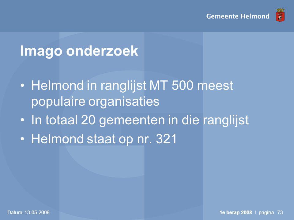 Imago onderzoek •Helmond in ranglijst MT 500 meest populaire organisaties •In totaal 20 gemeenten in die ranglijst •Helmond staat op nr.