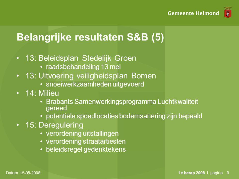 Datum: 15-05-2008 1e berap 2008 I pagina9 Belangrijke resultaten S&B (5) •13: Beleidsplan Stedelijk Groen •raadsbehandeling 13 mei •13: Uitvoering veiligheidsplan Bomen •snoeiwerkzaamheden uitgevoerd •14: Milieu •Brabants Samenwerkingsprogramma Luchtkwaliteit gereed •potentiële spoedlocaties bodemsanering zijn bepaald •15: Deregulering •verordening uitstallingen •verordening straatartiesten •beleidsregel gedenktekens
