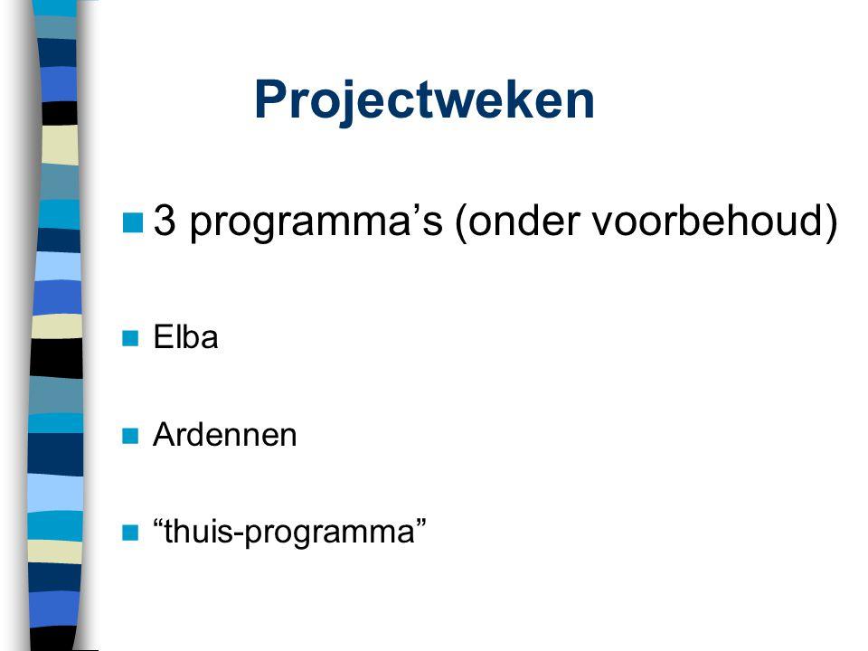 """Projectweken  3 programma's (onder voorbehoud)  Elba  Ardennen  """"thuis-programma"""""""