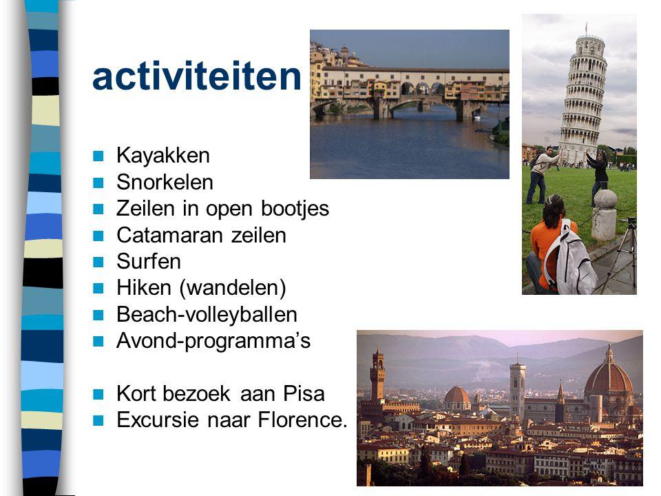 activiteiten  Kayakken  Snorkelen  Zeilen in open bootjes  Catamaran zeilen  Surfen  Hiken (wandelen)  Beach-volleyballen  Avond-programma's 