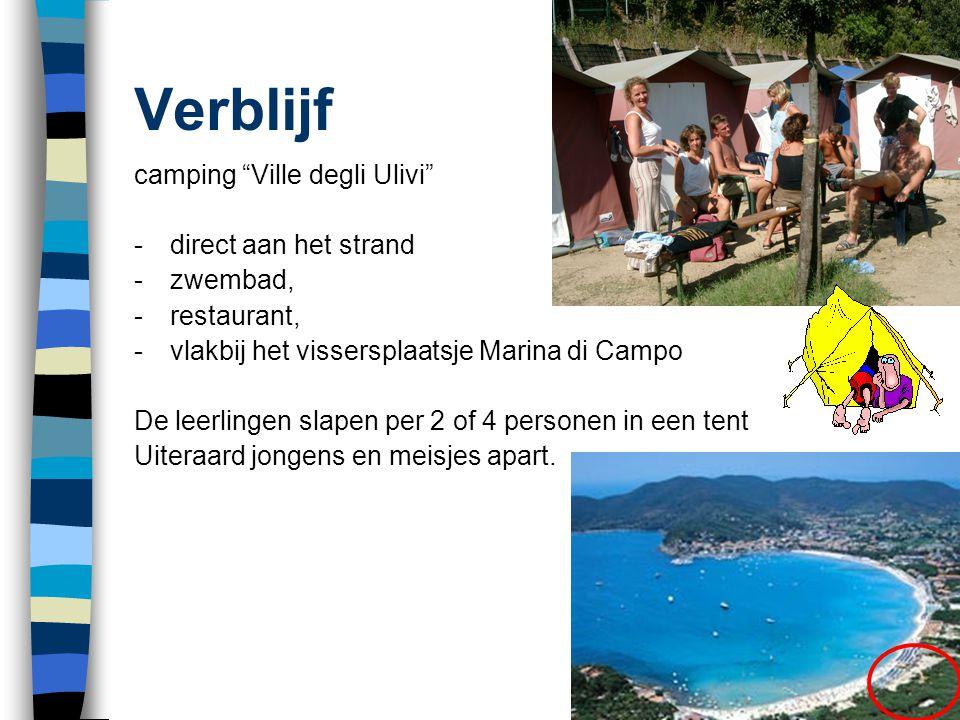 """Verblijf camping """"Ville degli Ulivi"""" -direct aan het strand -zwembad, -restaurant, -vlakbij het vissersplaatsje Marina di Campo De leerlingen slapen p"""