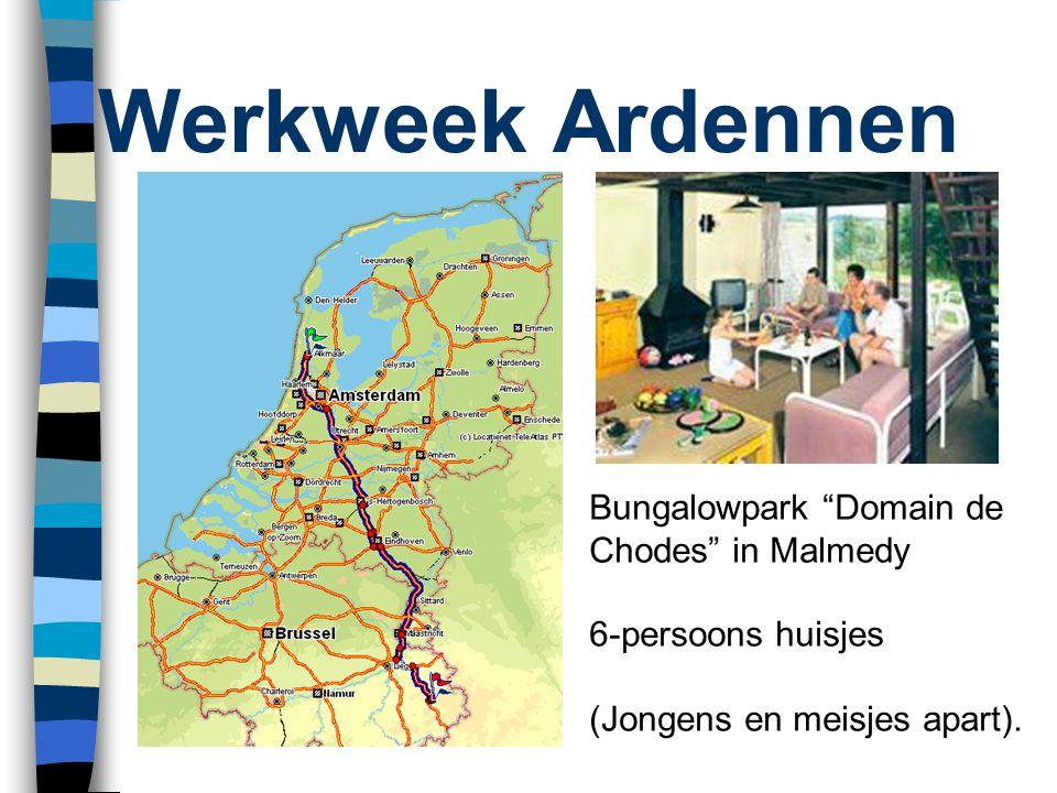 """Werkweek Ardennen Bungalowpark """"Domain de Chodes"""" in Malmedy 6-persoons huisjes (Jongens en meisjes apart)."""